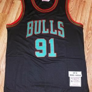 Dennis Rodman Xmas Day Throwback Jersey M & Ness